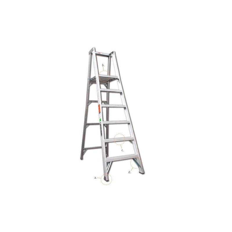 Escalera de plataforma tijera aluminio cuprum for Escaleras cuprum